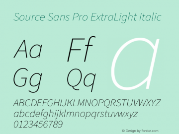 Source Sans Pro ExtraLight Italic Version 1.095;hotconv 1.0.109;makeotfexe 2.5.65596图片样张