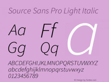 Source Sans Pro Light Italic Version 1.095;hotconv 1.0.109;makeotfexe 2.5.65596图片样张