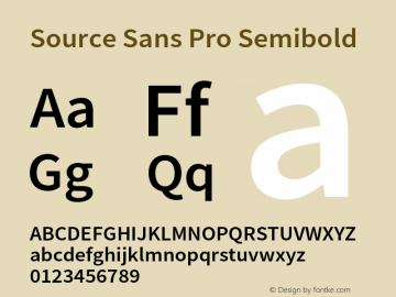 Source Sans Pro Semibold Version 2.045;hotconv 1.0.109;makeotfexe 2.5.65596图片样张
