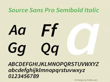 Source Sans Pro Semibold Italic Version 1.095;hotconv 1.0.109;makeotfexe 2.5.65596图片样张