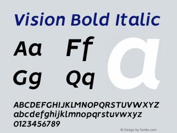 Vision Bold Italic Version 1.000;PS 001.000;hotconv 1.0.88;makeotf.lib2.5.64775图片样张