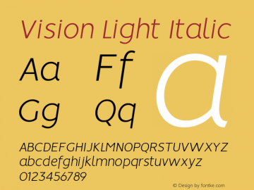 Vision Light Italic Version 1.000图片样张
