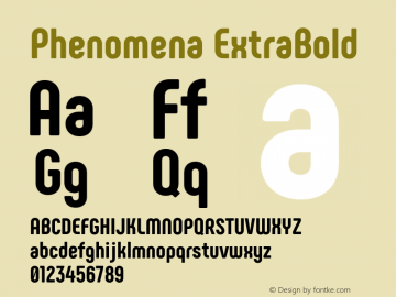 Phenomena ExtraBold Version 1.000;PS 001.000;hotconv 1.0.88;makeotf.lib2.5.64775图片样张