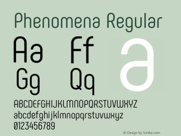 Phenomena Regular Version 1.000;PS 001.000;hotconv 1.0.88;makeotf.lib2.5.64775图片样张