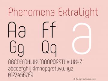 Phenomena ExtraLight Version 1.000;PS 001.000;hotconv 1.0.88;makeotf.lib2.5.64775图片样张