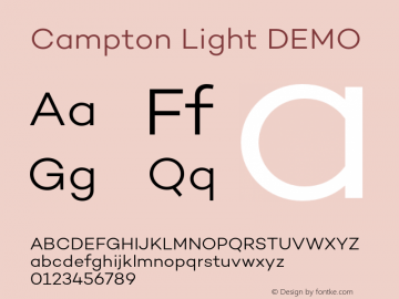 Campton Light DEMO Version 1.000;PS 001.000;hotconv 1.0.88;makeotf.lib2.5.64775图片样张