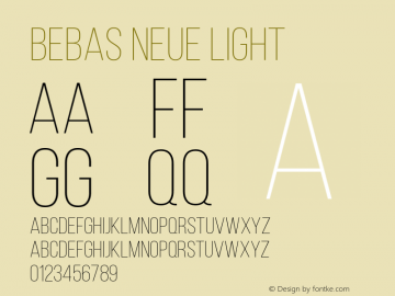 Bebas Neue Light Version 1.003图片样张