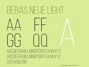 Bebas Neue Light Version 1.003;PS 001.003;hotconv 1.0.88;makeotf.lib2.5.64775图片样张