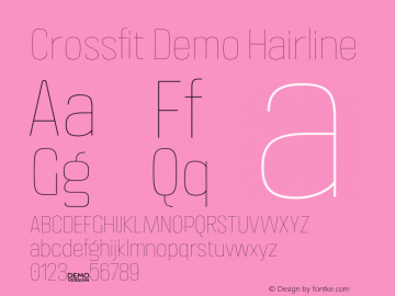 Crossfit Demo Hairline Version 1.000;PS 001.000;hotconv 1.0.88;makeotf.lib2.5.64775图片样张
