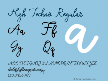 High Techno Version 1.00;May 12, 2019;FontCreator 11.5.0.2430 64-bit图片样张