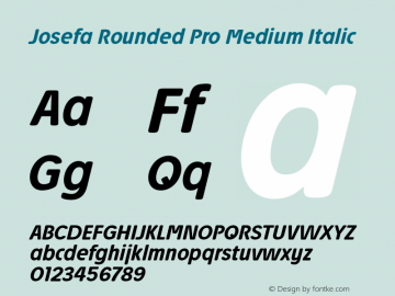 Josefa Rounded Pro Medium Italic Version 1.011图片样张