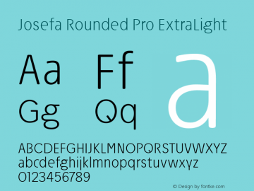 Josefa Rounded Pro ExtraLight Version 1.007图片样张