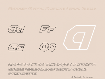 Gunner Storm Outline Italic Italic Version 1.00 July 26, 2016, initial release图片样张