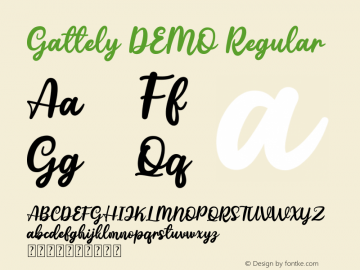 Gattely DEMO Version 1.00;May 14, 2019;FontCreator 11.5.0.2421 32-bit图片样张