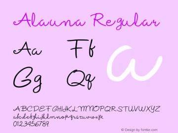 Alauna Regular Version 1.000;hotconv 1.0.109;makeotfexe 2.5.65596图片样张
