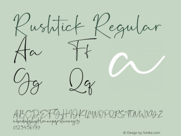 Rushtick Version 1.00;May 15, 2019;FontCreator 11.5.0.2430 64-bit图片样张