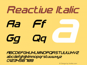 Reactive Italic Version 1.00;March 26, 2019;FontCreator 11.5.0.2422 64-bit图片样张