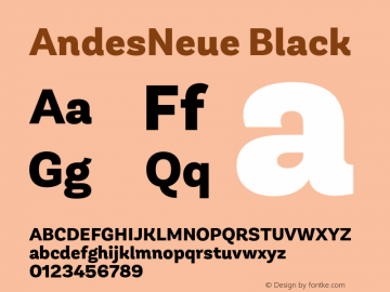 AndesNeue Black Version 1.001;PS 001.001;hotconv 1.0.88;makeotf.lib2.5.64775图片样张