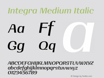 Integra Medium Italic Version 1.000图片样张