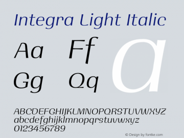 Integra Light Italic Version 1.000图片样张