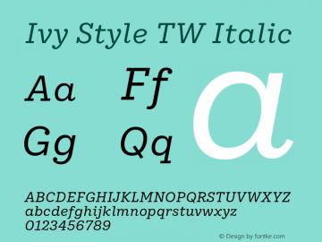 IvyStyleTW-Italic Version 1.001图片样张
