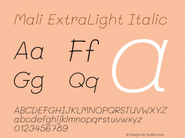 Mali ExtraLight Italic Version 1.000; ttfautohint (v1.6)图片样张