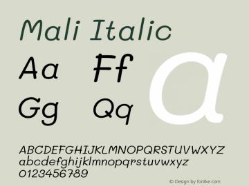 Mali Italic Version 1.000; ttfautohint (v1.6)图片样张