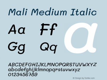 Mali Medium Italic Version 1.000; ttfautohint (v1.6)图片样张