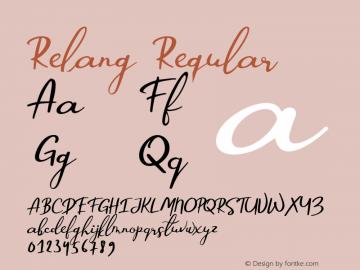 Relang Regular Version 1.000;PS 001.000;hotconv 1.0.88;makeotf.lib2.5.64775图片样张