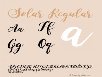 Solar Regular Version 1.000;PS 001.000;hotconv 1.0.88;makeotf.lib2.5.64775图片样张