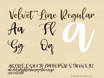 Velvet Line Regular Version 1.000;PS 001.000;hotconv 1.0.88;makeotf.lib2.5.64775图片样张