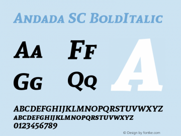 Andada SC BoldItalic Version 1.003 Font Sample