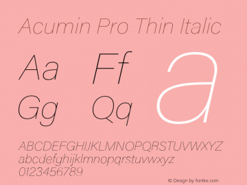 AcuminPro-ThinItalic Version 1.011图片样张