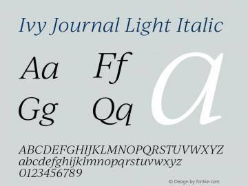 IvyJournal-LightItalic Version 1.001图片样张