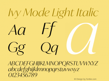 IvyMode-LightItalic Version 1.001图片样张