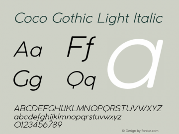 CocoGothic-LightItalic Version 2.001图片样张
