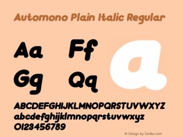 Automono Plain Italic Regular Version 1.000图片样张