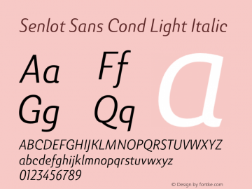 SenlotSansCond-LightItalic Version 1.000图片样张