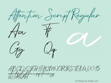 Attention Script Version 1.00;July 8, 2019;FontCreator 11.5.0.2430 64-bit图片样张