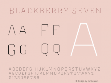 Blackberry Seven Version 1.000;hotconv 1.0.109;makeotfexe 2.5.65596图片样张