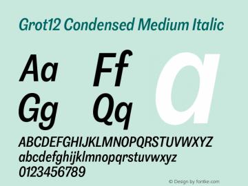 Grot12Condensed-MediumItalic Version 1.0图片样张