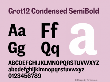 Grot12Condensed-SemiBold Version 1.0图片样张
