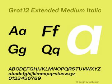 Grot12Extended-MediumItalic Version 1.0图片样张