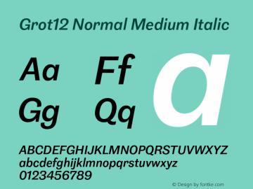 Grot12Normal-MediumItalic Version 1.0图片样张