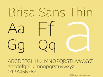 Brisa Sans Thin Version 1.102;July 10, 2019;FontCreator 11.5.0.2425 64-bit图片样张
