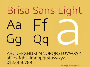 Brisa Sans Light Version 1.102;July 10, 2019;FontCreator 11.5.0.2425 64-bit图片样张