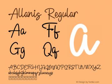 Allanis Version 1.00;July 6, 2019;FontCreator 11.5.0.2427 64-bit图片样张