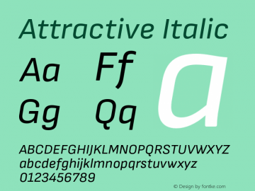 Attractive Italic Version 3.001;PS 003.001;hotconv 1.0.88;makeotf.lib2.5.64775图片样张