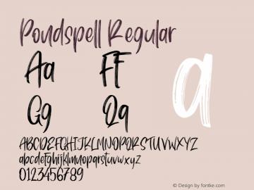 Pondspell Version 1.00;May 10, 2019;FontCreator 11.5.0.2430 64-bit图片样张