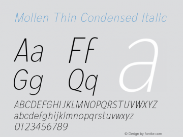 Mollen-ThinCondensedItalic Version 1.000;YWFTv17图片样张